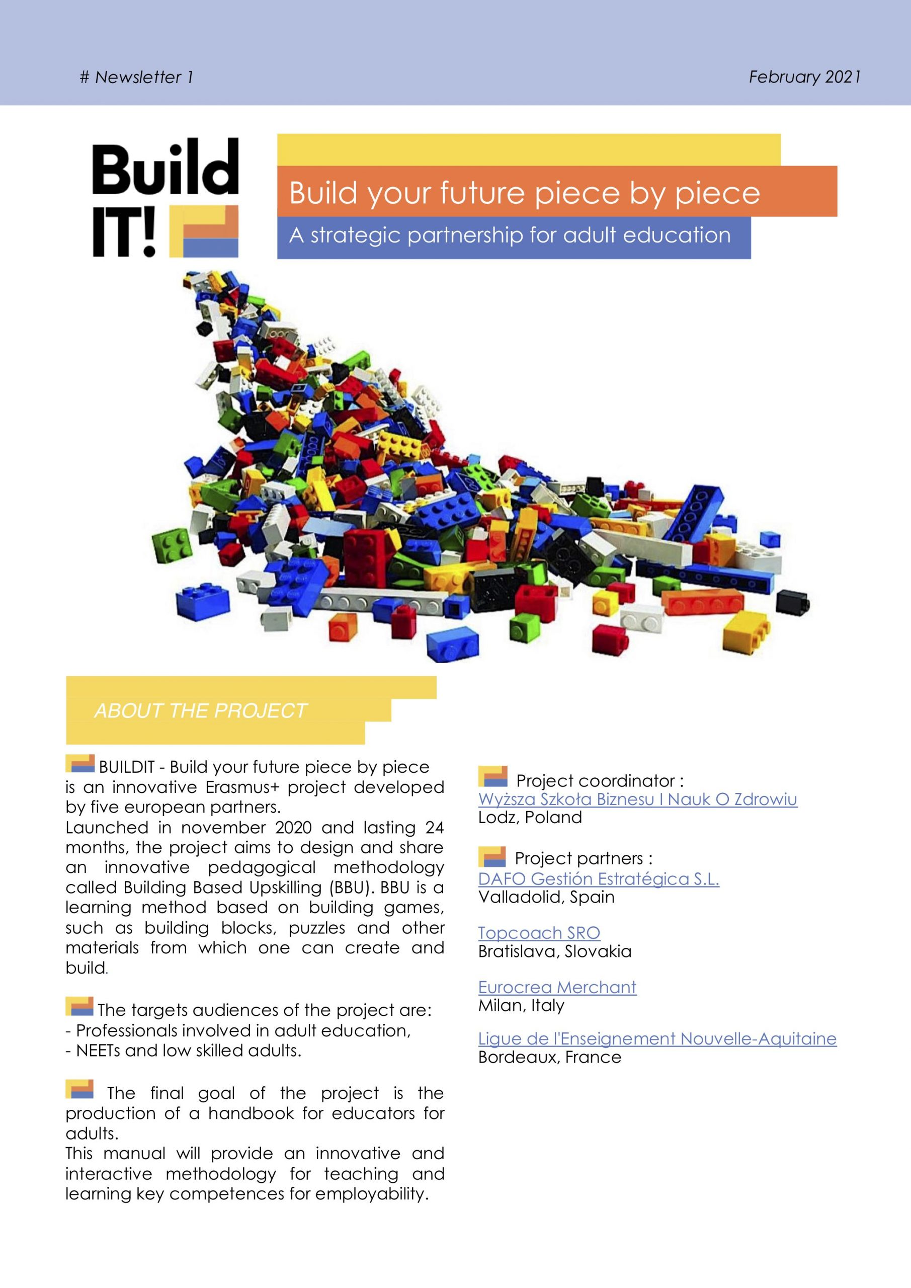 1st newsletter of the BuildIT project – adult education – innovative methodology 1